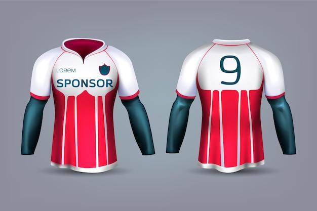 Uniforme de camisa de futebol vermelho e branco