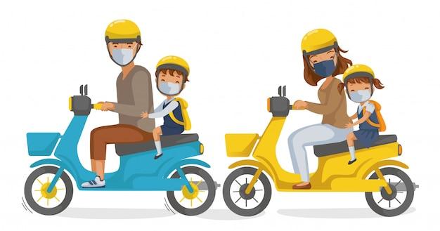 Uniforme de crianças. máscara de família em motocicletas. de volta à escola. os pais dirigem uma motocicleta.