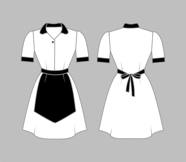 Uniforme de empregada branca com gola e punhos em avental preto vista frontal e traseira mock up