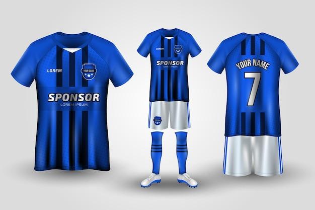 Uniforme de futebol azul e branco