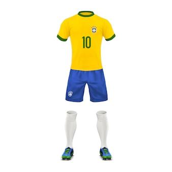 Uniforme de futebol de uma equipe do brasil, conjunto de roupas esportivas, camisa, shorts, meias e botas