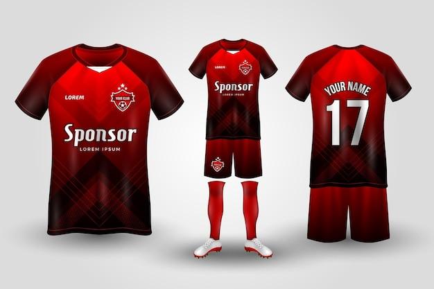 Uniforme de futebol vermelho e preto