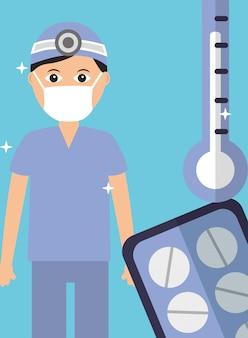 Uniforme médico e máscara com pílulas e termômetro