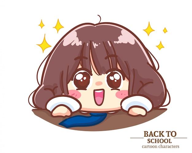 Uniformes de estudante de crianças cute girl agarram-se à borda da mesa com prazer de volta à escola. ilustração em vetor premium