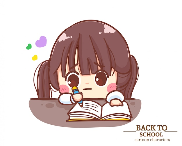 Uniformes de estudante de crianças cute girl fazem lição de casa para a escola. ilustração em vetor premium