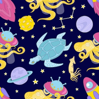 Universe cartoon space sea seamless pattern