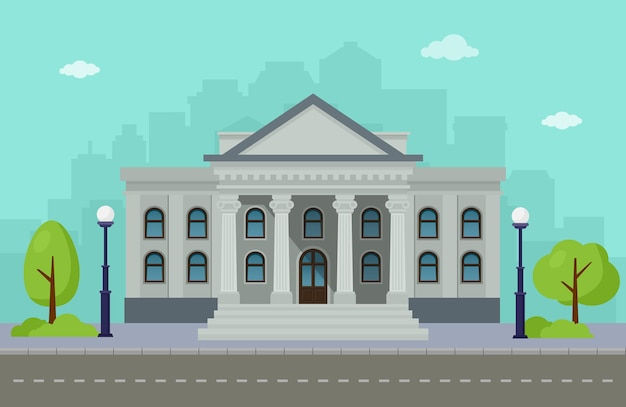 Universidade de fachada ou instituição governamental com skylines da cidade. ilustração vetorial.