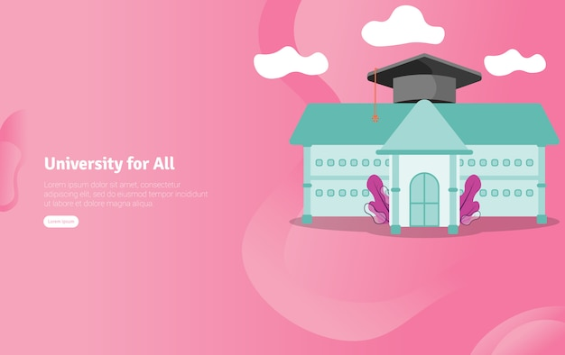 Universidade para todos banner de ilustração