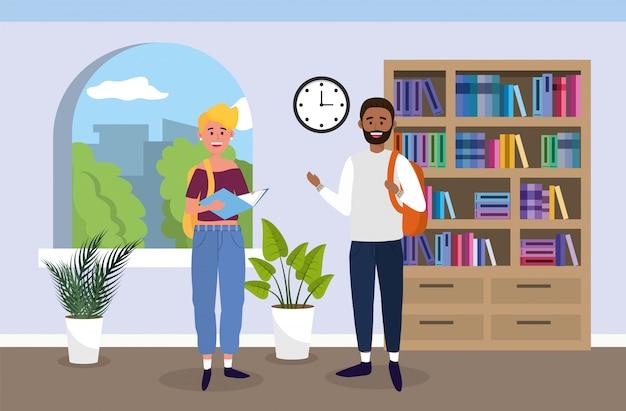 Universitária e menino com livros na sala de aula