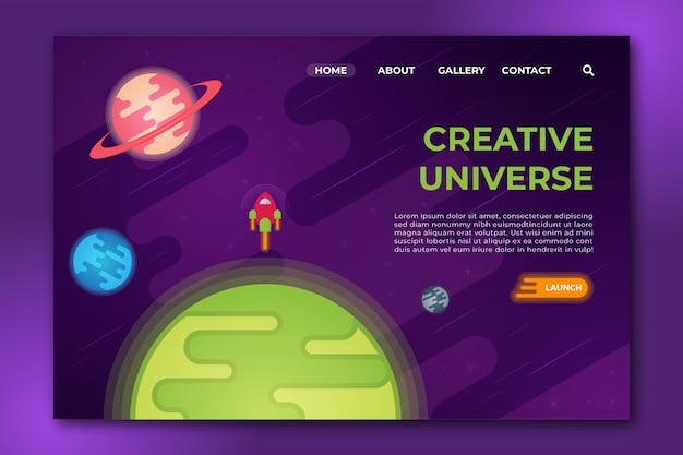 Universo criativo design plano página de destino limpa