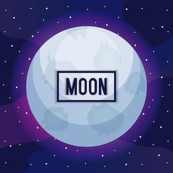 Universo da lua com o ícone de estrela