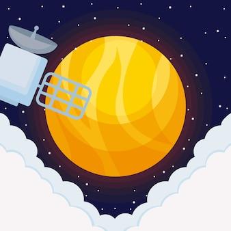 Universo solar com espaço satelital