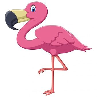 Uns desenhos animados cor-de-rosa bonitos do pássaro do flamingo