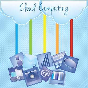 Upload de computação em nuvem com ilustração de aplicativos sobre fundo azul