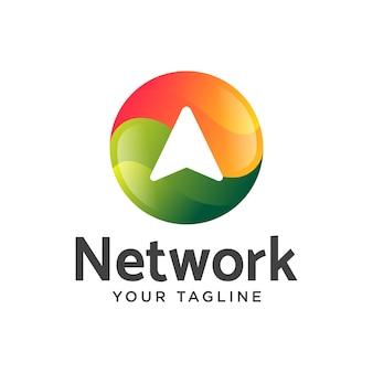 Upload de dados rede logotipo gradiente moderno