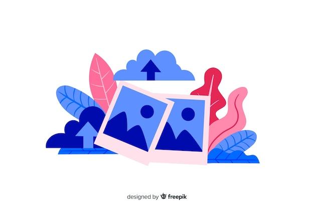 Upload de imagem de design plano para a página de destino