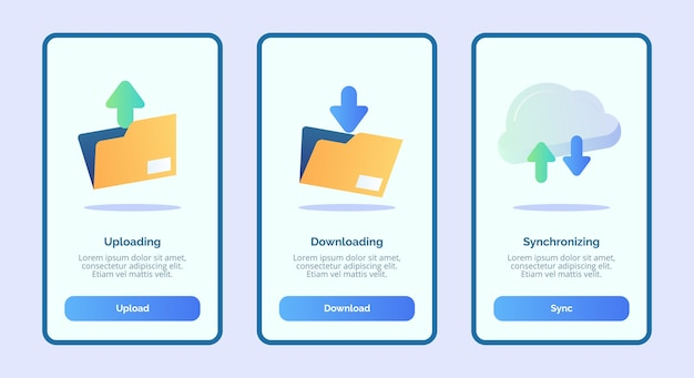 Upload, download, sincronização para página de banner do modelo de aplicativos móveis