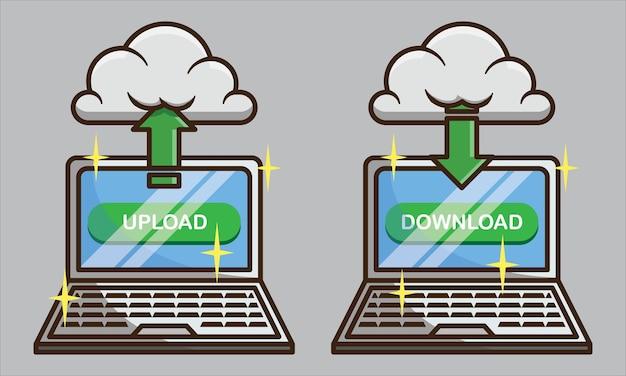 Upload e download no design de conceito do ícone de ilustração dos desenhos animados do laptop. vetor livre