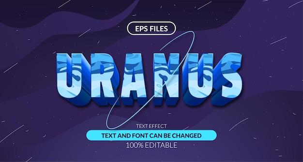 Urano 3d com efeito de texto editável da astrologia do sistema solar do anel. arquivo do vetor eps. planeta espaço cósmico