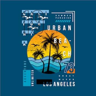 Urban beach los angeles califórnia design gráfico de tipografia Vetor Premium