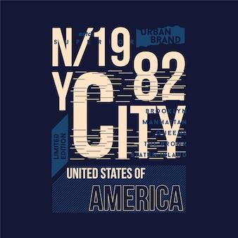 Urbano brand new york city gráfico t shirt design tipografia ilustração estilo casual