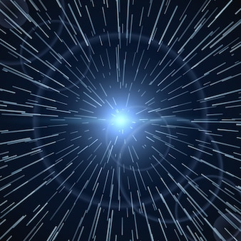 Urdidura do tempo, ilustração vetorial de luz branca brilhante sunburst