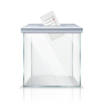 Urna de voto transparente vazia realística com cédula marcada no furo