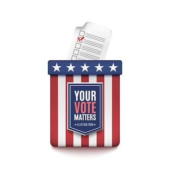 Urna eleitoral com formulário de inscrição de eleitor em fundo branco. ilustração.