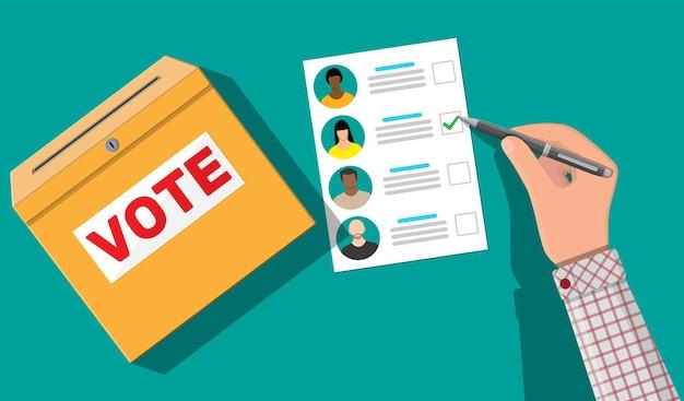 Urna eleitoral, papel com candidatos. mão com caneta e projeto de lei eleitoral. votar documento com rostos. ilustração em estilo simples