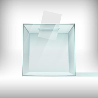 Urna eleitoral. recipiente de votação de vidro transparente com boletim de voto caindo. caixa de plástico de pesquisa, conceito de vetor 3d da eleição do presidente dos eua 2020. recipiente para votação, ilustração de caixa de vidro transparente