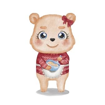 Ursa fofa usando um suéter de natal feio enquanto assa biscoitos