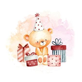Ursinho de pelúcia aquarela feliz aniversário