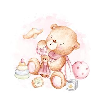 Ursinho de pelúcia bebê fofo em aquarela com brinquedos