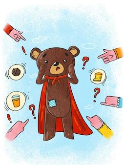 Ursinho de pelúcia com medo de ilustração mãos apontando a culpa