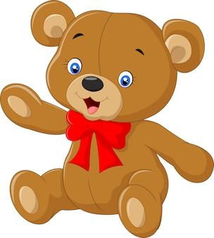 Ursinho dos desenhos animados, acenando a mão