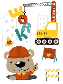 Ursinho dos desenhos animados com veículo de construção