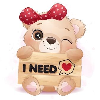 Ursinho fofo abraçando uma ilustração de tabuleta