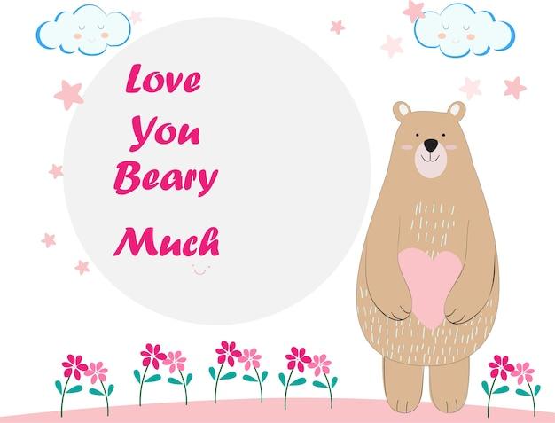 Ursinho fofo cartoon cartão de aniversário