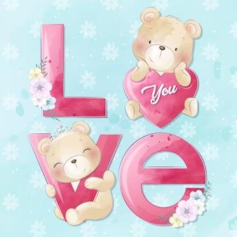 Ursinho fofo com alfabeto de amor