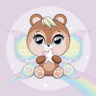 Ursinho fofo com asas de borboleta sobre fundo com cores pastel de arco-íris
