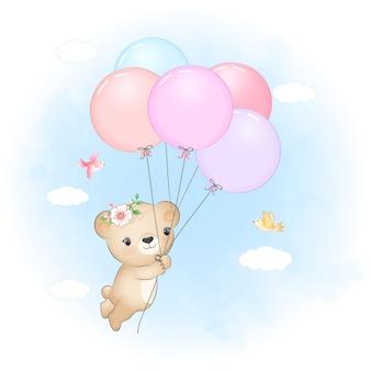 Ursinho fofo com balões e pássaros no céu