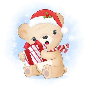 Ursinho fofo com caixa de presente no inverno e ilustração de natal