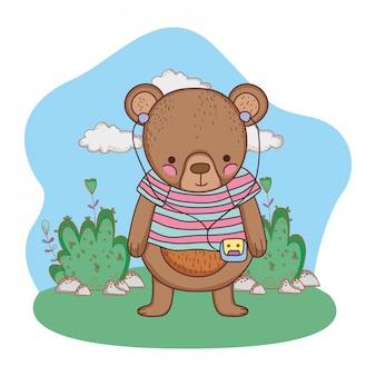Ursinho fofo com camisa e walkman no acampamento