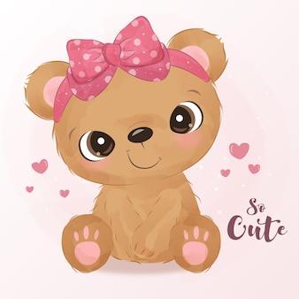 Ursinho fofo com fita rosa em aquarela.
