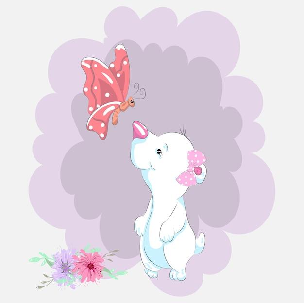 Ursinho fofo e borboleta cartoon mão desenhada