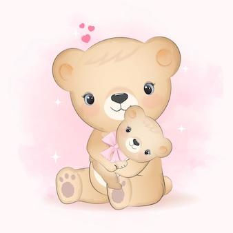 Ursinho fofo e mãe com coração desenhado à mão desenho animal ilustração