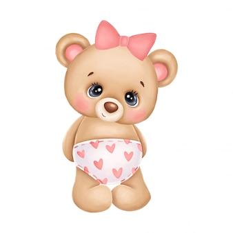 Ursinho fofo menina com um laço rosa e corações