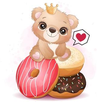 Ursinho fofo sentado na ilustração de sobremesa