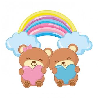 Ursinhos de brinquedo com coração e arco-íris