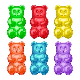Ursinhos de gelatina de cores diferentes isolados no branco